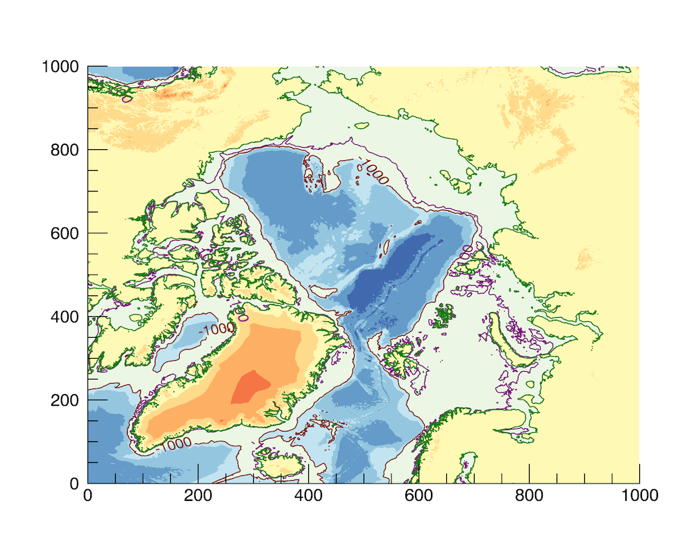 Bathymetry of the Arctic Ocean curtesy NOAA. The 100m contour shows the sea level 20,000y ago and the 1000m contour shows the maximum depth of sea ice.