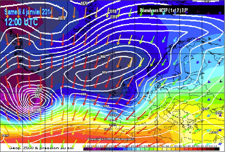 Formation of storm which hit UK on 5-6 Jan 2014. A strong wave of tractional tides sweeps through the area.