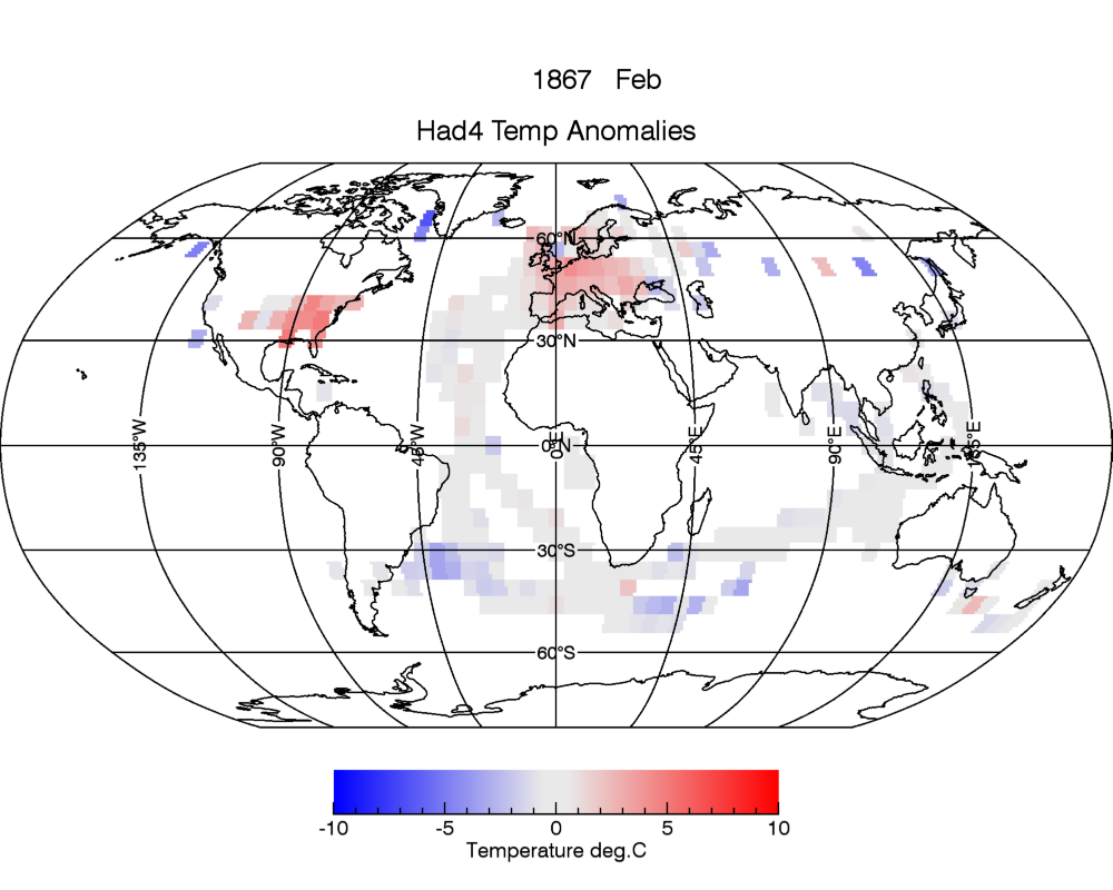 Temperature anomalies relative to average February temperatures between 1961-1990.