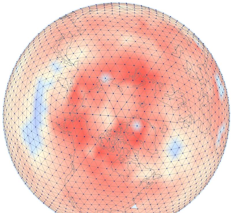 Spherical temperature averaging using Icosahedral grids